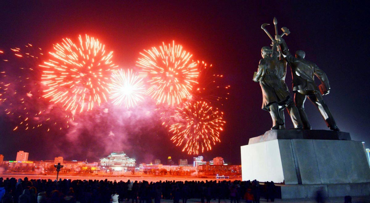 New Year Fireworks In Kim Il Sung Square
